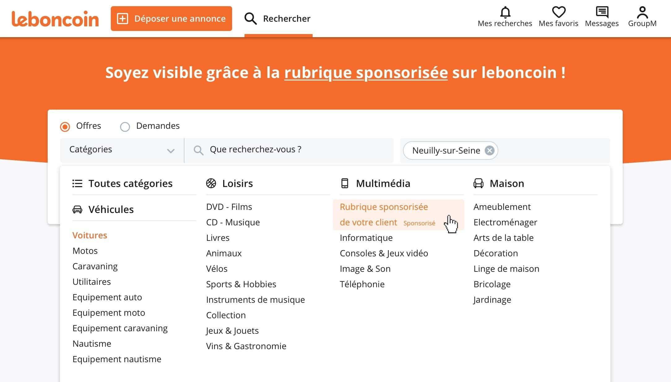 Faire de la publicité autrement sur leboncoin avec le nouveau produit opérations spéciales leboncoin Publicité : illustration de la rubrique sponsorisée