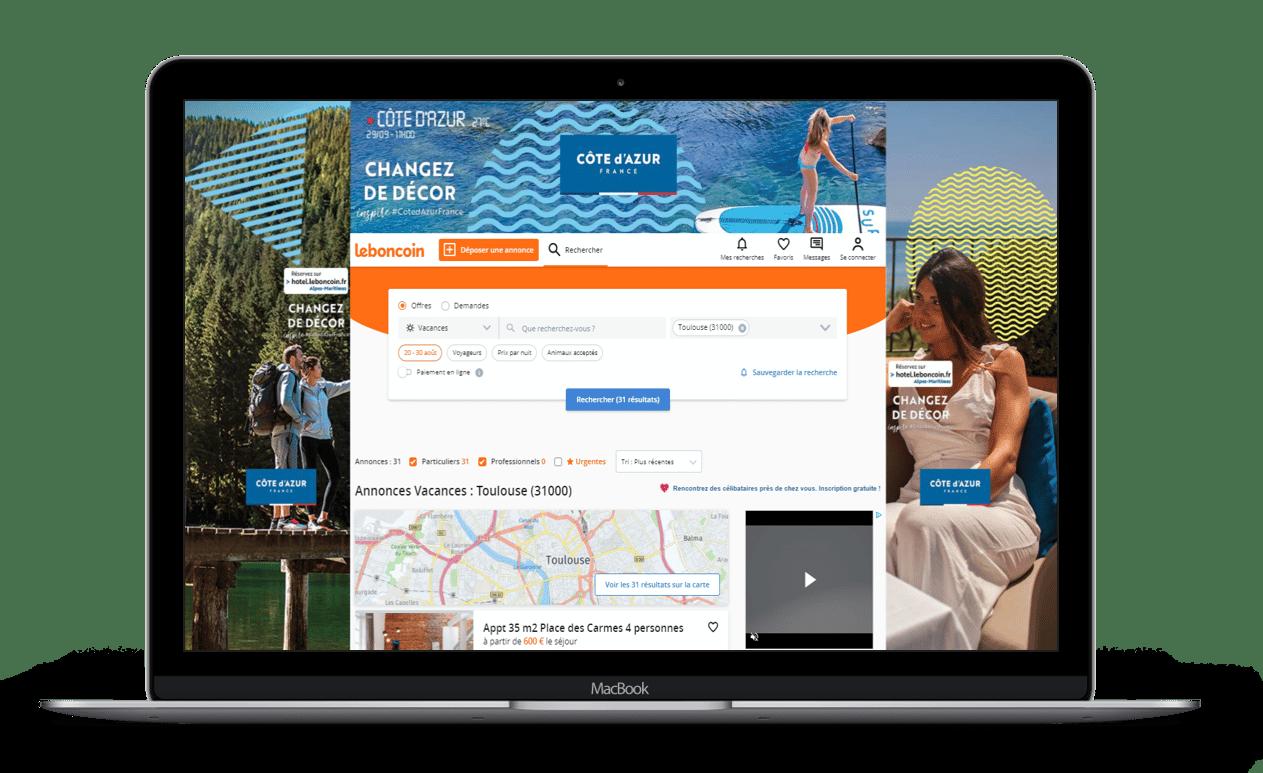 Visuel de la Campagne de publicité CRT Cote d'Azur sur leboncoin avec leboncoin Publicité